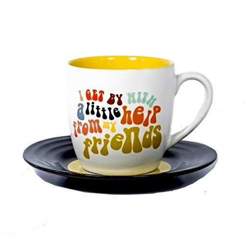 Lyrical Mug - Ensemble-Cadeau de Tasse et Soucoupe Céramique avec Paroles de Chanson Ami2 - John Lennon & Paul McCartney - Autorisé par Sony/ATV - Thumbs up! - 1001705