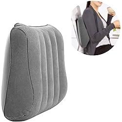 Almohada lumbar de apoyo ergonómico para la parte trasera de la oficina, cojín hinchable de doble uso para viajes, al aire libre, casa o parte inferior del dolor, color gris