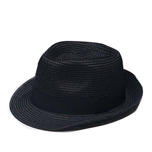Nanxson(TM) Chapeaux Fedora/Trilby/Panamas Chapeau De Soleil En Paille Tricoté Pour Homme/Femme MZM0021 Noir