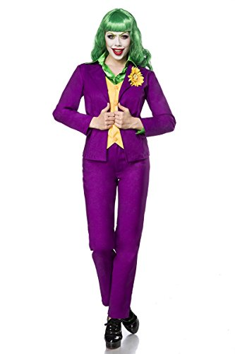 Fasching-Kostüm `Lady Joker` by MASK PARADISE - Blazer mit eingearbeiteter Weste - Set: Corsage, Leggings, Hörner, Armstulpen - A80069, Größe:36;Farbe:lila