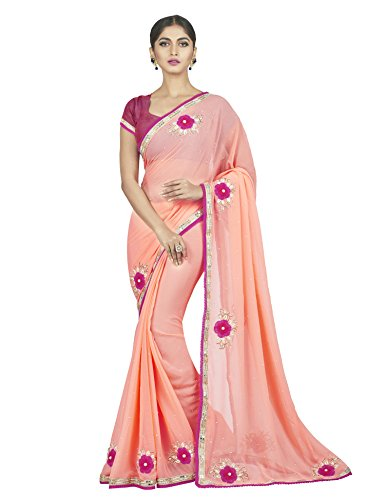 Oomph! Women\'s Chiffon Sarees Party Wear/Fancy Chiffon Sarees/Embroidered Chiffon Sarees, Blush Pink