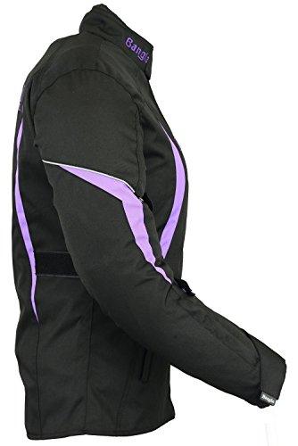 B-102 Bangla Sportliche Damen Motorrad Jacke Textil Schwarz-Lila XL - 3