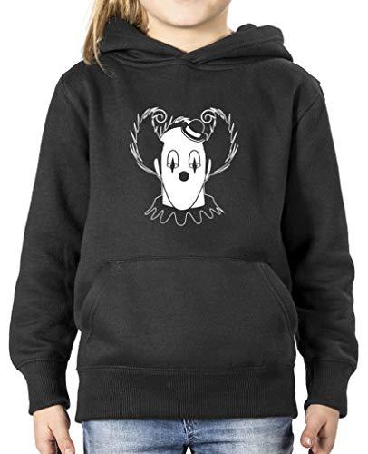 Comedy Shirts - Halloween Clown - Mädchen Hoodie - Schwarz/Weiss Gr. 140