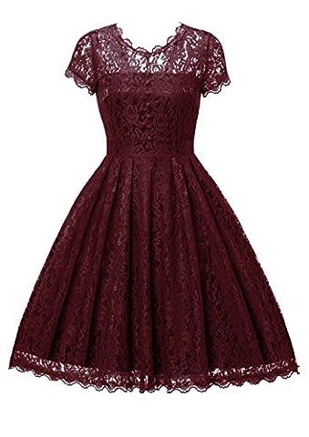 Gigileer Elegant Damen Kleider Spitzenkleid Cocktailkleid Knielanges Vintage 50er Jahr hochzeit Party weinrot XXXL