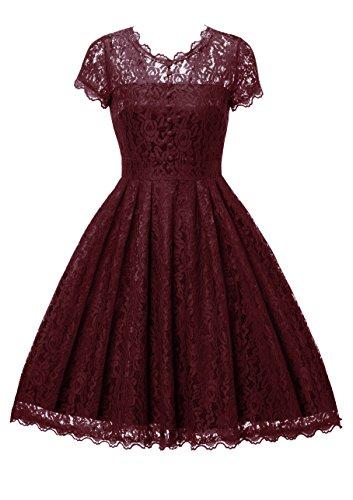 Gigileer Elegant Damen Kleider Spitzenkleid Cocktailkleid Knielanges Vintage 50er Jahr hochzeit Party weinrot (Retro Kleid)