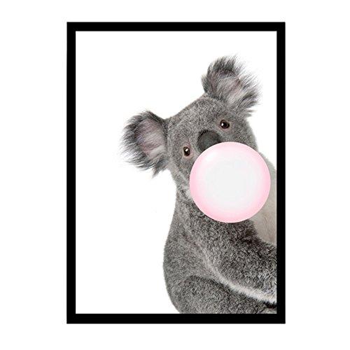 bdrsjdsb Kawaii Blase Malerei von Koala Leinwand Kunst Poster Tier Wand Bild Home Living Room Decor 20 * 25 cm - Neue Leinwand Kunst