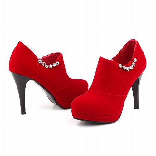 Mee Shoes Damen Stiletto Nubukleder Strass Plateau Knöchelstiefel Rot ...
