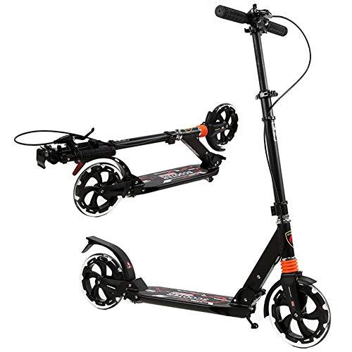 Roller Erwachsene, Adult Kick Scooter mit Handbremse - 220lb Gewichtsbeschränkung - Zusammenklappbar - 200mm große Räder - Verstellbarer Lenker - Dual Suspension (Farbe : Schwarz)