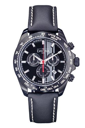Davosa 16248855 Montre Bracelet Hommes, Cuir, Couleur: Noir