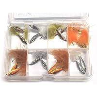 BestCity Moscas para Pesca con Mosca EPOXY Minnows 16 Moscas para truchas suministradas con Caja de Cierre de Clip Gratis #340