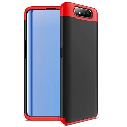 Designerz Hub® Ull Body 3 in 1 Slim Fit Complete 3D 360 Degree Protection Hybrid Hard Bumper Back Case Cover Designed for Samsung Galaxy A80-(Black & Red)