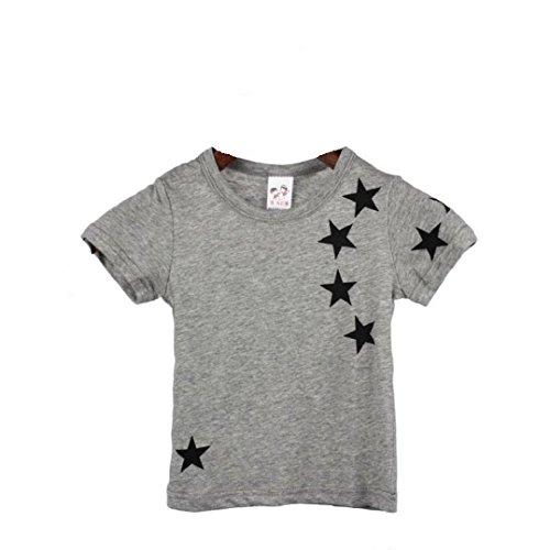 T shirt kinder Kolylong Kinder Jungen Stern Druck Muster Tops T-Shirt 90-130 (100, Grau) (Fruit The Loom-mädchen Of Unterwäsche)