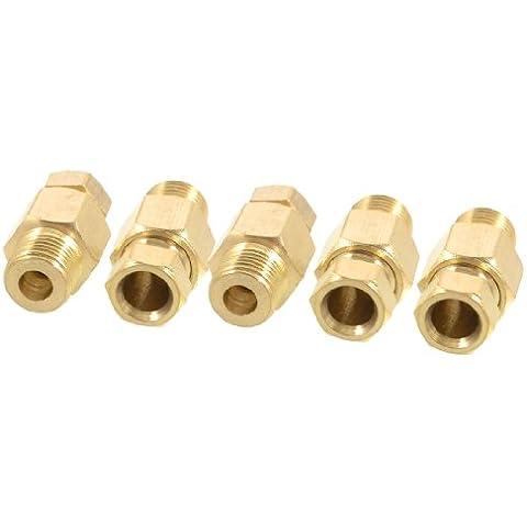 Sourcingmap - 5 pezzi 6mm tubo di ottone 0,32 cm connettori filettatura maschio pt tono oro dritto