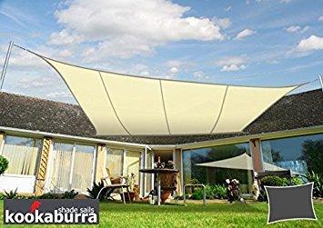 Kookaburra Wasserfest Sonnensegel 5,0m x 4,0m Rechteck Elfenbein
