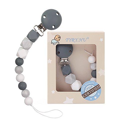aby Schnuller Clips Silikon Beißring Soothie Schnuller Kette Halter Kautabletten Perlen Kinderkrankheiten Spielzeug Dusche Geschenk ()