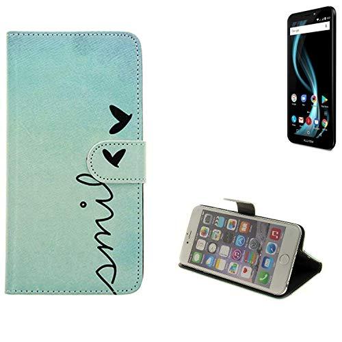 K-S-Trade® Für Allview X4 Soul Infinity S Hülle Wallet Case Schutzhülle Flip Cover Tasche Bookstyle Etui Handyhülle ''Smile'' Türkis Standfunktion Kameraschutz (1Stk)