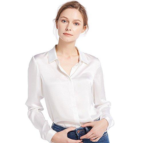 LilySilk Damen Hemdbluse Seide Sommerliche Damenbluse Shirt mit verdeckter Knopfleiste von 22 Momme (Brillantweiß, XL) Verpackung MEHRWEG (Kleid Shirt Check)