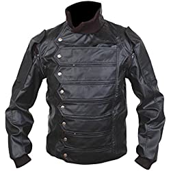 Leatherly Chaqueta de hombre Captain America, The Winter Soldier Bucky Barnes Cuero Chaqueta- XXL