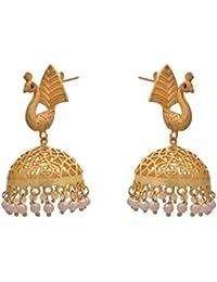 JFL - Traditional Ethnic Fusion Filigree Peacock One Gram Gold Plated Designer Jhumka With Matt Gold Finishing...