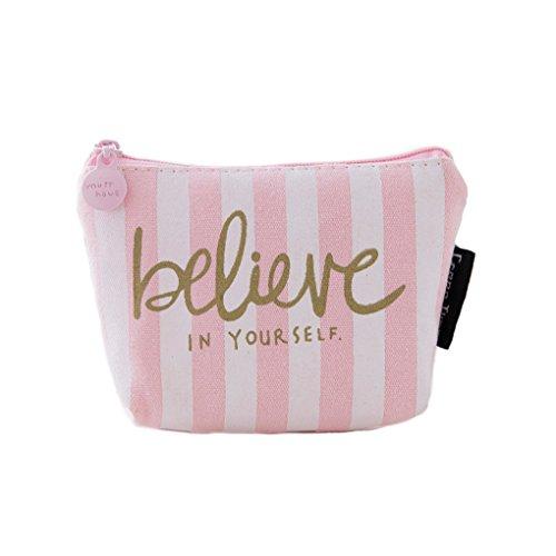n-Mappen-Mädchen-nette rosafarbene Dekoration-Segeltuch-Reißverschluss-bewegliche kreative Kopfhörer-Karten-Schlüssel-Geldbeutel-Beutel vertikaler Streifen (Dekoration Store)