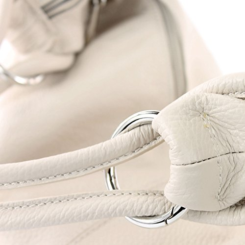 modamoda de - ital. Ledertasche Damentasche Hobo Bag Schultertasche Shopper Groß Leder 337 Creme