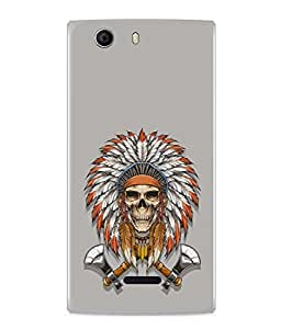 PrintVisa Designer Back Case Cover for Micromax Canvas Nitro 2 E311 (Cool Black And White Skull With Flower Design)