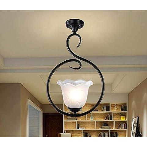 GS~LY Seppia continental camera da letto soggiorno lampadari in ferro,