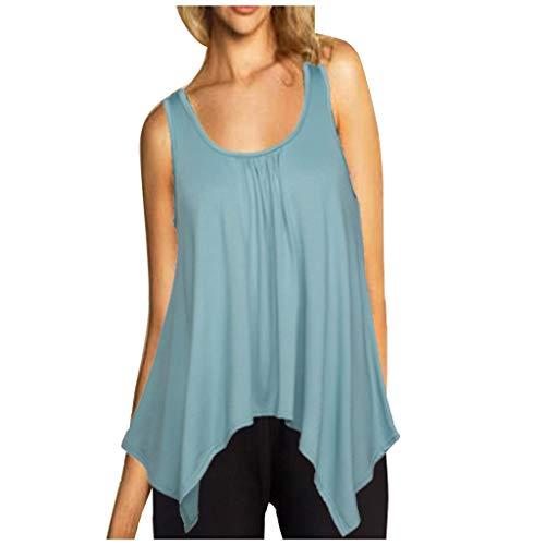 Muyise Damen Tops Weste Plus Size ärmellos U-Ausschnitt lässig lose einfarbig unregelmäßiger Saum Leibchen Vest Unterhemd Bluse Oberteile(Himmelblau,S) -