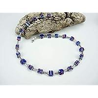 Handgemachte Murano-Glas Perlen Würfel Kette und Edelstahl Verschluss, Edelsteinkette, Unikat