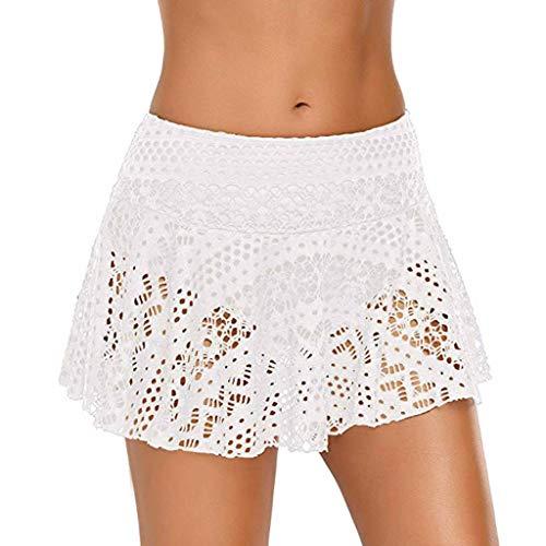 YWLINK Damen Elegant Sexy Bikini Bottom Lace Crochet Skirted Badeanzug Kurz Skort Schwimmrock Strand Kurzer Rock(B Weiß,XL)
