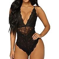 NINGSANJIN-Lingerie Femme Ouvrir Le Dos Sexy Erotique Arc Creux Nuisettes Costume Col V Dentelle sous-VêTements Bikini Set Grande Oversize Taille