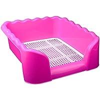 ZZ Cat litter Tray Aseo para Perros, Entrenamiento de Interior de plástico para Perros de Interior con Valla y Objetivo 42 * 42 * 15 cm Rosa