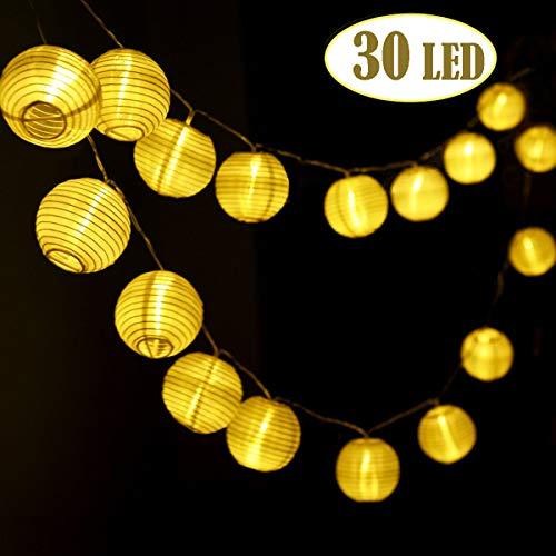 josechan luci stringa lanterna, set di 30 bianco led lanterna a batteria, nylon impermeabile lanterna decorativa a corde per indoor/outdoor party, natale, decorazione del giardino, halloween(6m)