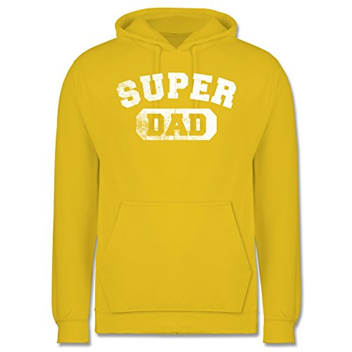 Vatertag - Super Dad - Vintage-&Collegestil - Männer Premium Kapuzenpullover / Hoodie Gelb