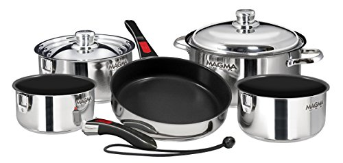 Magma Products, A10-366-2 Gourment Nesting Stainless Steel Cookware Set, 10 Piece Ceramica Non-Stick