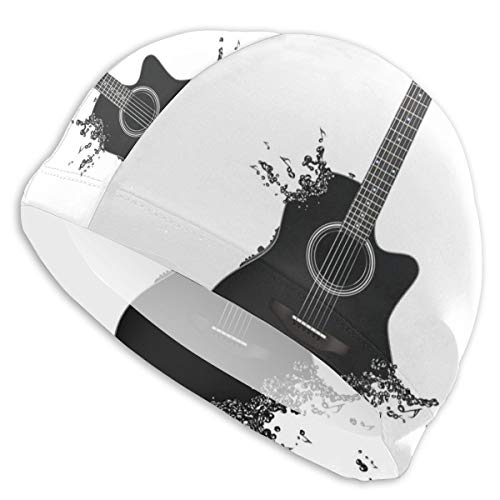 GUUi Swimming Cap Elastic Swimming Hat Diving Caps,Monochrome Musical Instrument with Strings Acoustic Color Splashes Creative Outlet,for Men Women Youths