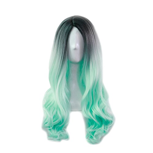 Lidahaotin Lang Big Curly Wellen-Perücke Frauen-Mädchen-Farbe Verändert allmählich -