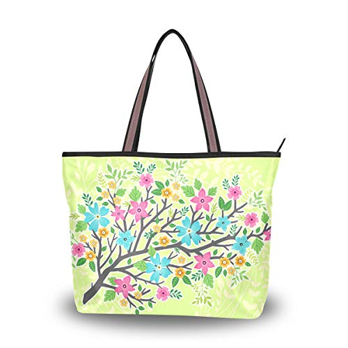 Hobo Womens Medium Handtasche (Emoya Damen Schultertasche Hello Spring Flowers Blooming Light Green Women Fashion Schultertasche Hobo Top Handle Geldbörse L, Mehrfarbig - multi - Größe: Medium)