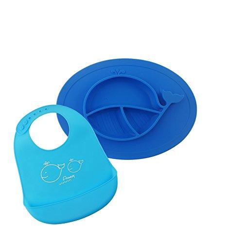 baby lätzchen Wasserdichte Lätzchen und Babyteller , silikon Tischset ,Runde Platzmatte aus Silikon für Baby und Kleinkinder Satz aus 2 Farben