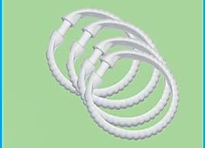 Lot de 12 anneaux ronds en plastique blanc pour rideau de - Nettoyer rideau de douche plastique ...