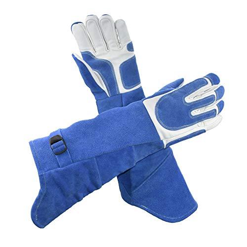 MOXIN Schweißerhandschuhe Anti Kratzer Schnitt resistent Wildleder Leichter arbeitshandschuh schweiß hitzebeständig für Grill Handschuhe lederkamin ofenhandschuhe,Blue