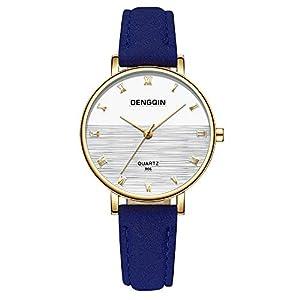 Hffan Damen Einfach Retro Meeresspiegel Uhr mit Vintage Textur Lederband Quarzuhr Frauen Freizeituhr Runde Tabelle Handschmuck Armband Uhren Damenuhr