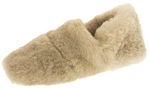 Somerset Footwear Ltd. Donna Pelle di Pecora Reale Pantofole di Lusso Beige