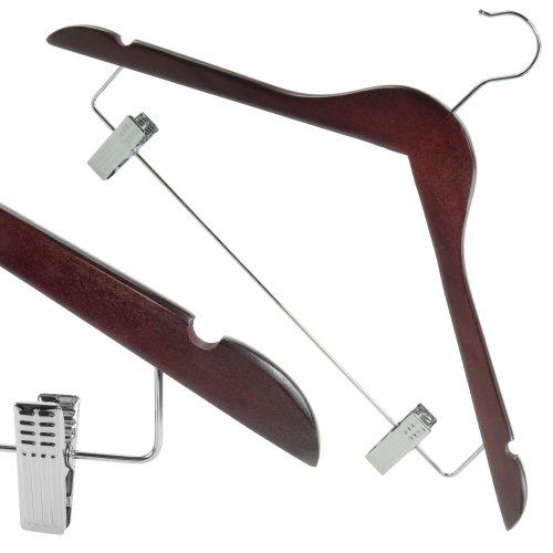 hangerworld-10-grucce-appendiabiti-in-legno-color-mogano-e-clip-in-metallo-cromato-45-cm