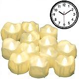 Led Kerzen mit timer, PChero 12 Stück LED Elektrische Tee Lichter flammenlose Kerze mit CR2032 Batterien, Automatik Timerfunktion: 6 Stunden an und 18 Stunden aus [Warm weiß]
