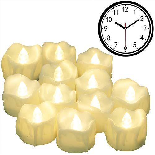 Led Kerzen mit timer, PChero 12 Stück LED Elektrische Teelichter Flammenlose Kerze mit CR2032 Batterien, Automatik Timerfunktion: 6 Stunden an und 18 Stunden aus [Warm weiß]