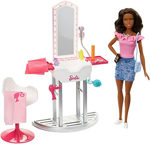 Barbie- bambola afroamericana salone di bellezza, giocattolo per bambini 3+ anni, fjb37