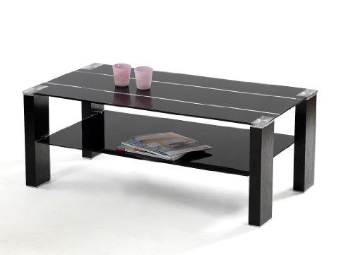 Presto mobilia 10197 Couchtisch Drum 07 110 x 60 x 43 cm schwarzes Glas