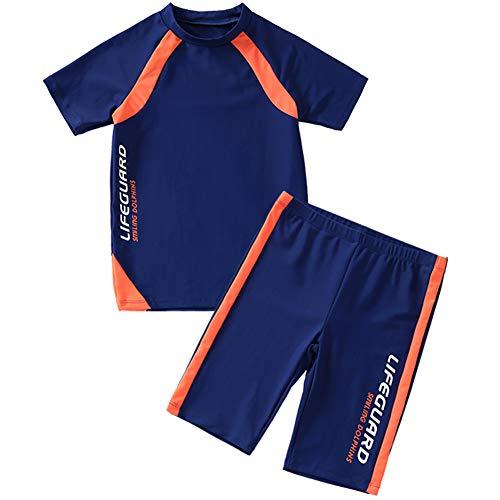 basadina Jungen Badeanzug-Jungen 4-12Jahren Zwei Stück 50+ UV-Badeanzug Kostüm, kurzen Ärmeln Jungen Bademode 10 Jahre blau