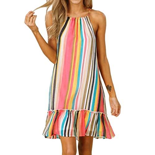 VECOLE Damenoberteile Summer Casual Sleeveless Damen O-Neck Verband Halfter Farbe Gestreifter Druck Maxi Kleid Rock Kleiden(Mehrfarbig,M) -